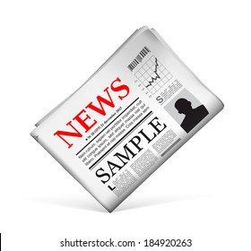 Blank newspaper with perforated edges and texture on white background.