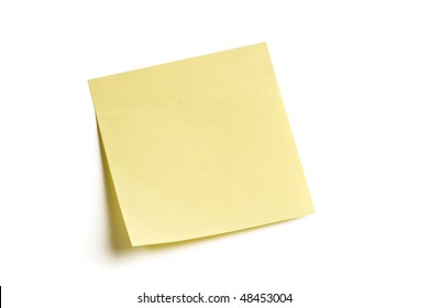 Blank note isolated on white background with soft shadow.