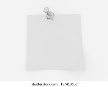Blank note with push pin rendered on white background