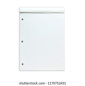 Blank note Report note pad with up-folded cover. isolated on white. Used condition.