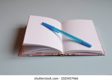 Blank notebook or diary and pen on light blue desk. Concept of education, study or business. Notebook for planning or sketches and ideas. Blank sheet. Space for text.