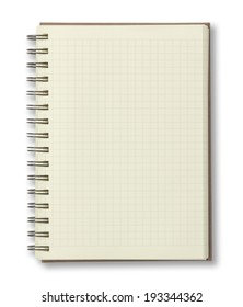 Blank Notebook with Line Paper on a White Background.