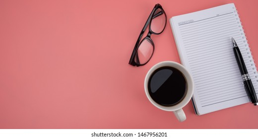 Blank notebook on pink background, design template