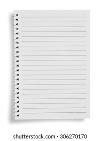 Blank notebook on white background with soft shadows.