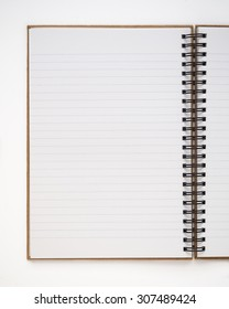 A blank notebook on white background
