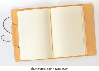 Blank Notebook on a White Paper Background