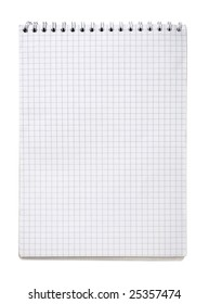 blank notebook page isolated on white