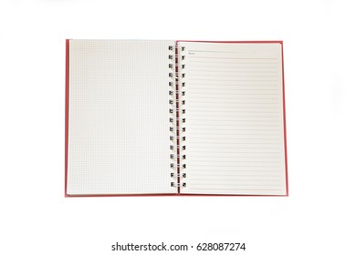 Blank notebook paper (blank page) isolated on white background