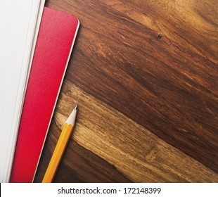Blank notebook and papers