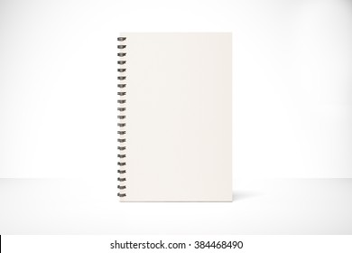 Blank notepad cover on white table, mock up