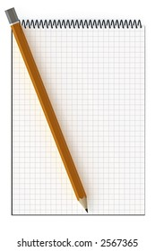 Blank notepad and pencil with copy-space. This is a 3D rendered picture.