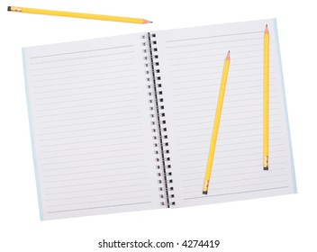 blank notepad with pencils on white background