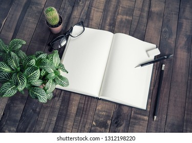 Blank notepad, stationery and plants on vintage wood table background.