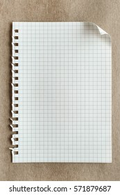 blank notepaper page on brown background, Top view