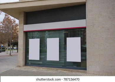 Blank office showcase with hanging billboards mock up, for free advertisement
