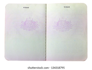 Blank old Australian passport pages isolated on white background.