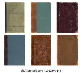 Blank old book covers. Set of vintage textures. Rough faded surface. Perfect for background and retro style design. Empty place for text.