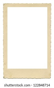 Blank old photo frame with figured edges, vintage paper texture, isolated over white background