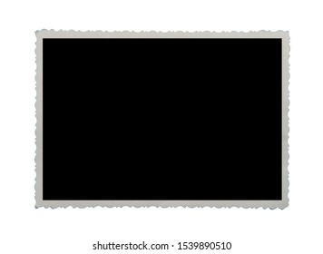 Blank old photo isolated on white