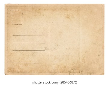 Blank old vintage postcard isolated on white background