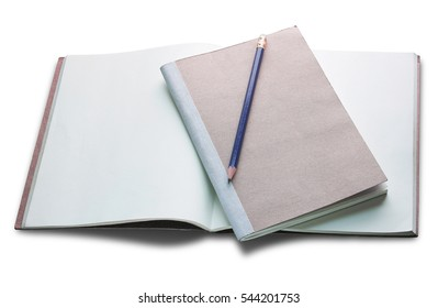 blank open book and pencil isolated on white background