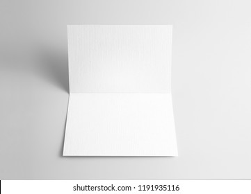 Blank open card over gray background