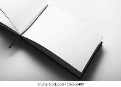 Blank open diary over gray background