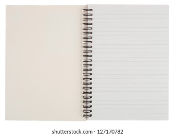Blank Open Notebook Isolated on White Background