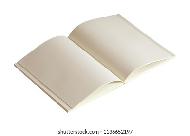 blank open notebook paper isolated on white background