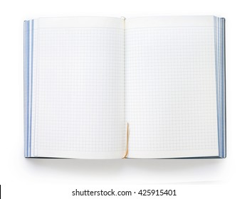 Blank open notebook with squared sheets and bookmark isolated on white background with clipping path