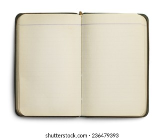 Blank Open Notebook with Zipper Isolated on White Background.