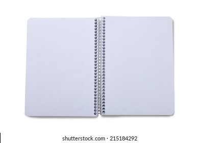 A blank open wide notebook isolated on white with clipping path.