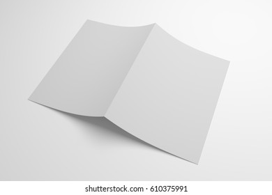 Blank opened bi-fold 3D illustration paper showing cover.