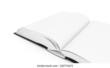 Blank opened book rendered on white