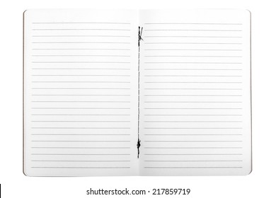 Blank opened copybook template isolated on white background with clipping path