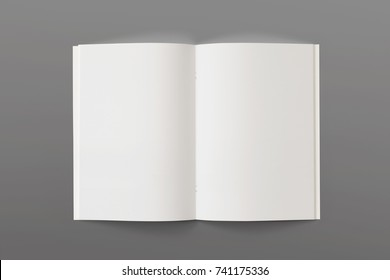 Blank opened Magazine or Brochure isolated on grey. Pages top view. Mockup template for your showcase.