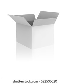Blank opened white box with reflection.