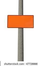 Blank orange construction sign on concrete electric pole