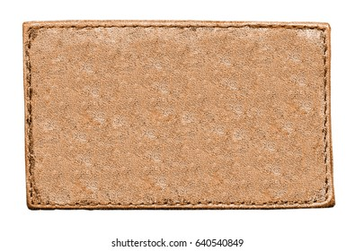 blank orange leather label isolated on white. Place for Your text