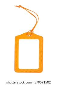 blank orange luggage tag isolated on white, with clipping path