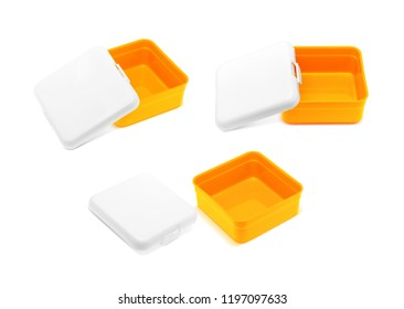 blank orange lunch box isolated on white background with clipping path