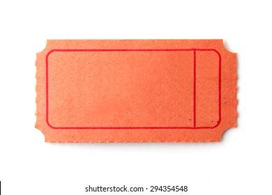 Blank orange ticket on white background