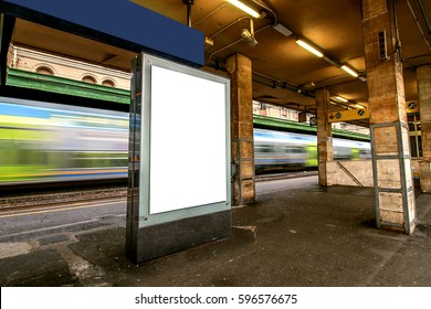 Blank outdoor advertising board at train station.