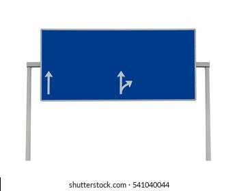 Blank overhead sign on highway isolated