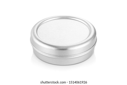 blank packaging aluminum balm jar for cosmetic product design mock-up isolated on white background with clipping path