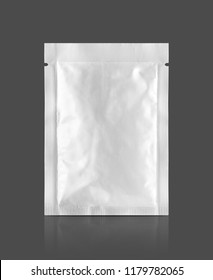 blank packaging aluminum foil snack sachet isolated on gray background with clipping path ready for food product design