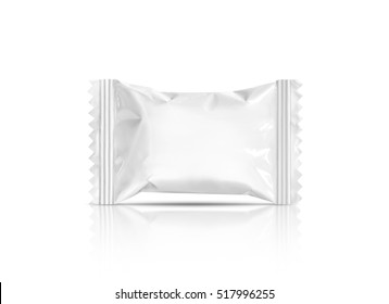 blank packaging candy plastic sachet isolated on white background with clipping path