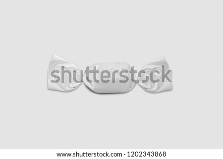 Blank Packaging Candy Plastic Sachet Isolated On Soft Gray Backgroundcandy Wrapper Mock Up