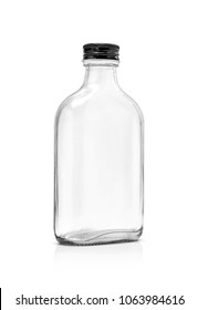 Blank packaging clear glass bottle include aluminum black cap isolated on white background with clipping path redy for beverage product design template
