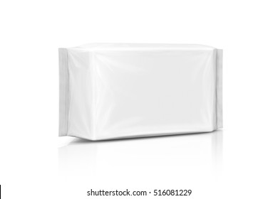 blank packaging paper wet wipes pouch isolated on white background with clipping path